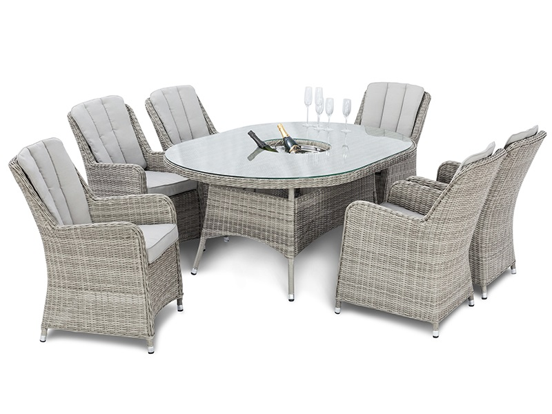 Oxford 6 Seat Oval Ice Bucket Dining Set with Venice Chairs and Lazy Susan Main Image