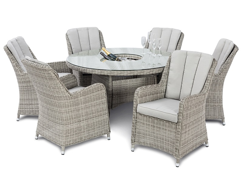 Maze Rattan Oxford 6 Seat Round Ice Bucket Dining Set with Venice Chairs and Lazy Susan Dining Set Image0 Image