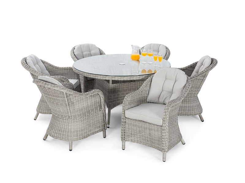 Maze Rattan Oxford 6 Seat Round Ice Bucket Dining Set with Heritage Chairs and Lazy Susan Dining Set Image0 Image