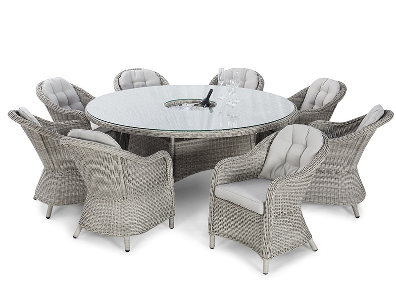 Maze Rattan Oxford 8 Seat Round Ice Bucket Dining Set with Heritage Chairs and Lazy Susan Dining Set Image0 Image