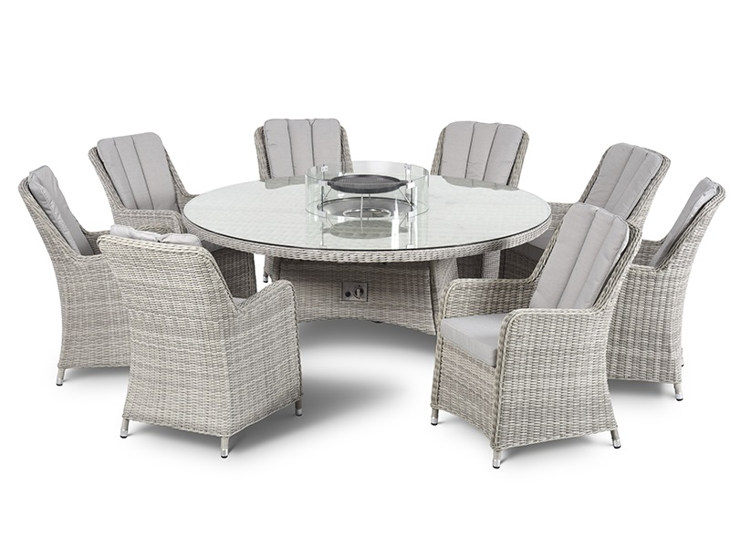 Maze Rattan Oxford 8 Seat Round Fire Pit Dining Set with Venice chairs and Lazy Susan Dining Set Image0 Image