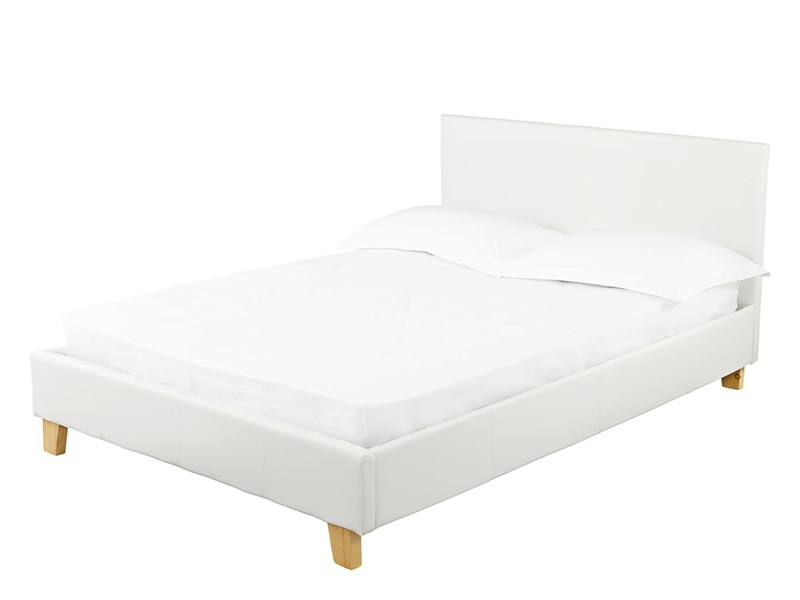 Furniture Express Prado White 3\' Single Leather Bed Image0 Image