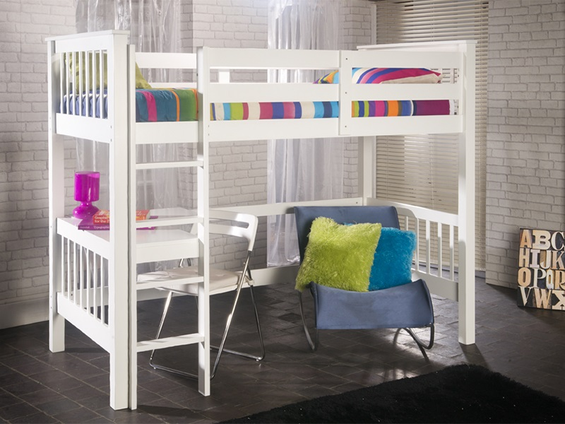 Limelight Pavo Study Bunk 3\' Single White Bunk Bed Image0 Image