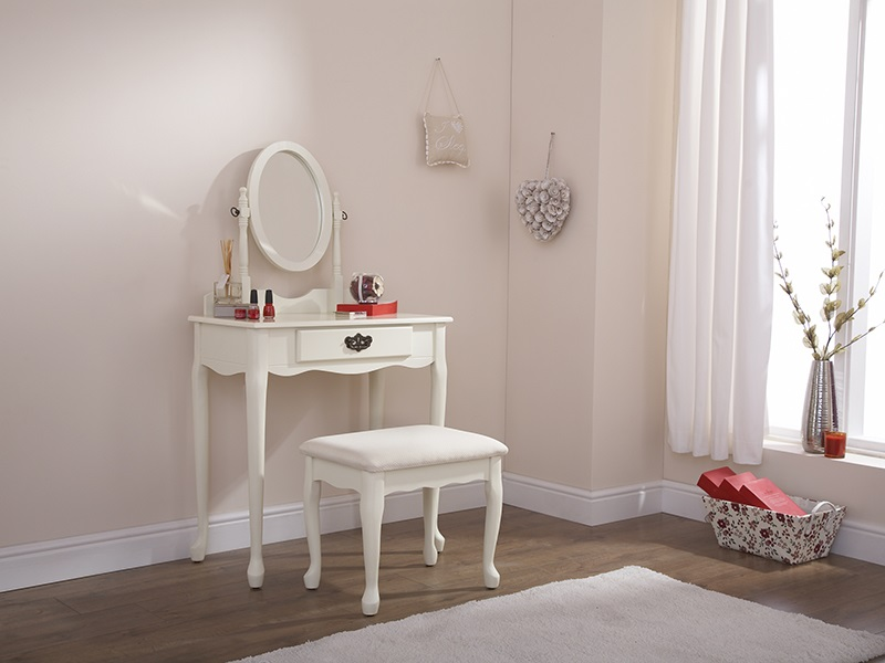 Queen Anne Dressing Table Set - Ivory Main Image