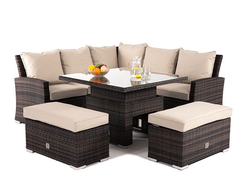 Maze Rattan Richmond Corner Bench Set with Rising Table Brown Rattan Corner Sofa set Image0 Image