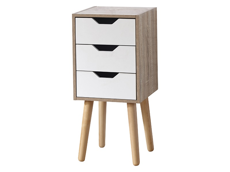 GFW Stockholm 3 Drawer Slim Chest White Gloss and Oak Drawer Chest Image0 Image