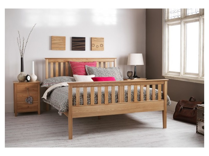Serene Furnishings Salisbury High-Foot End 4\' 6 Double Honey Oak Wooden Bed Image0 Image