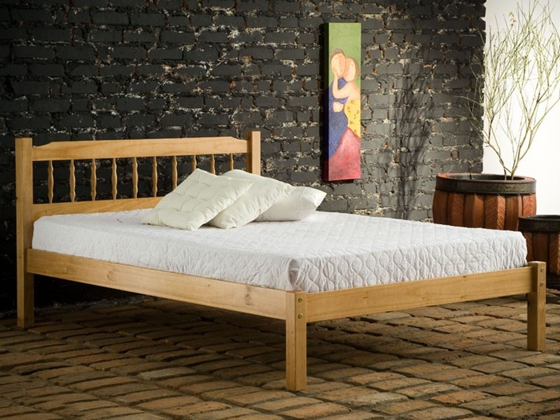 Birlea Santos 4\' 6 Double Natural Slatted Bedstead Wooden Bed Image0 Image