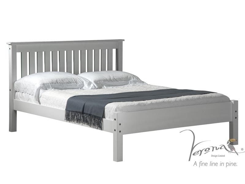 Marvelous Grey Wooden Double Bed Part - 3: Shaker Whitewash Main Image