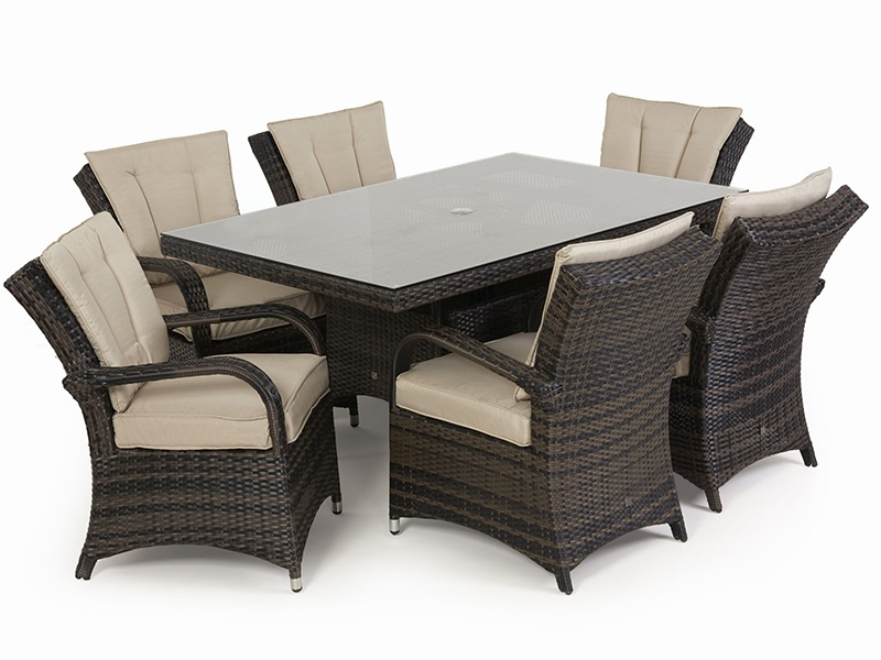 Maze Rattan Texas 6 Seat Rectangular Dining Set Grey Rattan Dining Set Image0 Image
