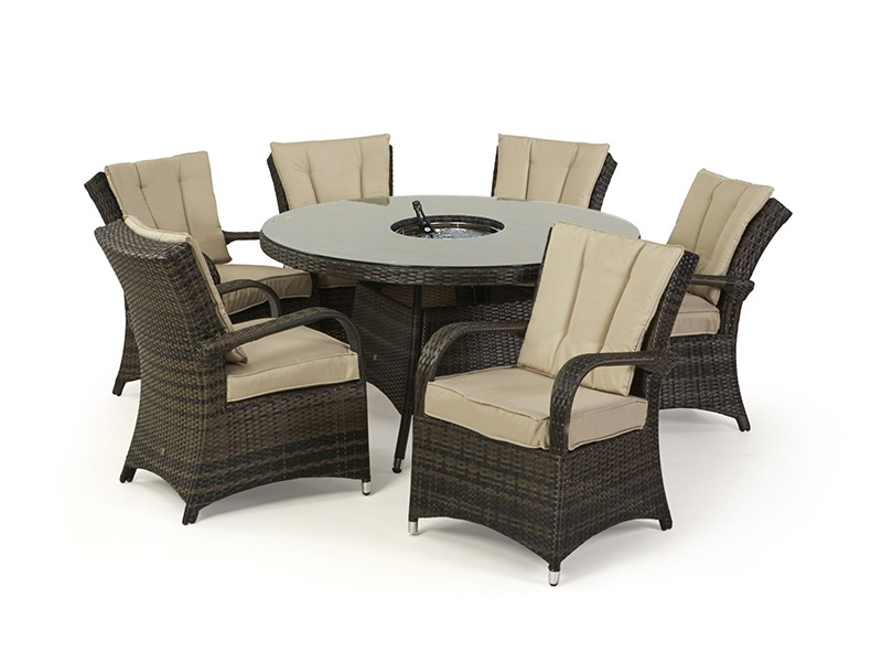Maze Rattan Texas 6 Seat Round Ice Bucket Dining Set with Lazy Susan Brown Rattan Dining Set Image0 Image