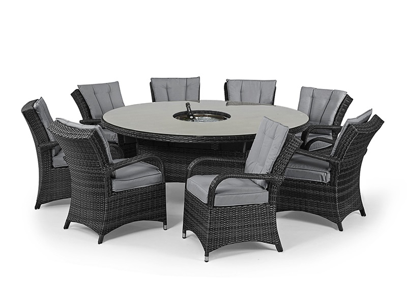 Maze Rattan Texas 8 Seat Round Ice Bucket Dining Set with Lazy Susan Grey Rattan Dining Set Image0 Image