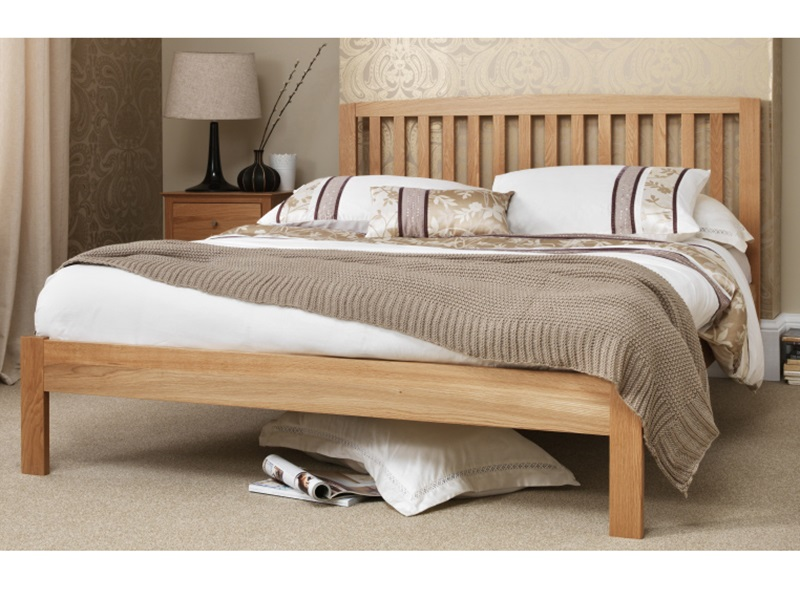 Serene Furnishings Thornton 4\' Small Double Honey Oak Wooden Bed Image0 Image