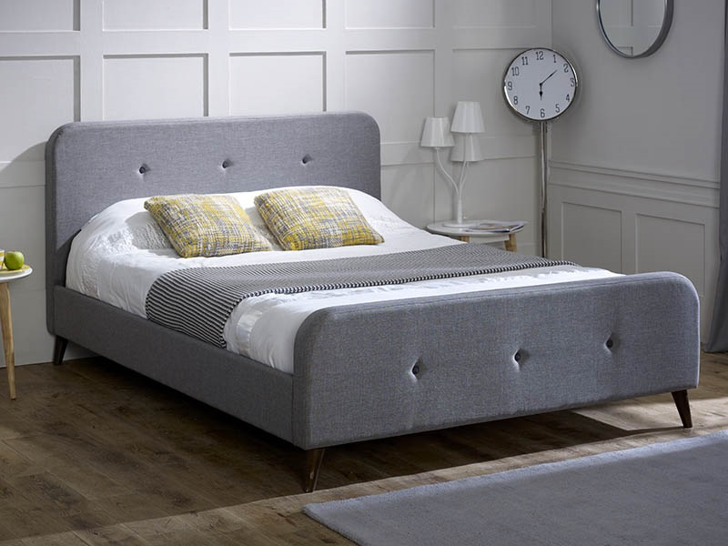 Limelight Tucana Grey 4\' 6 Double Ash Grey Fabric Bed Image0 Image