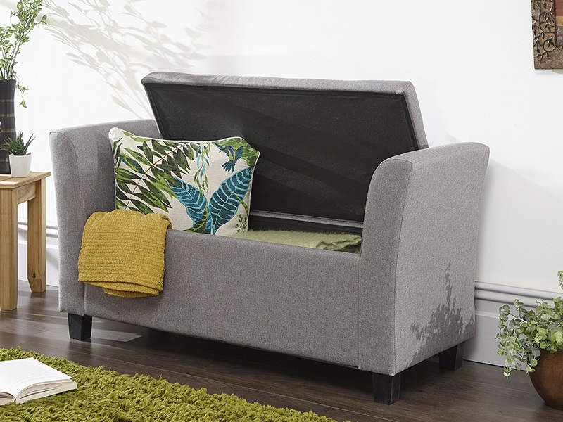 GFW Verona Window Seat Grey Fabric Blanket Box Image0 Image