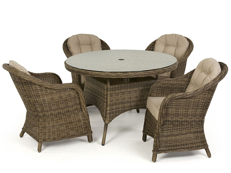 Maze Rattan Winchester 4 Seat Round Dining Set with Heritage Chairs Dining Set Image0 Image