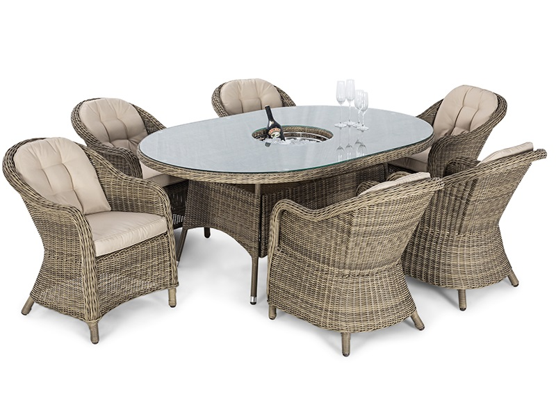 Maze Rattan Winchester 6 Seat Oval Ice Bucket Dining Set with Heritage Chairs and Lazy Susan Dining Set Image0 Image
