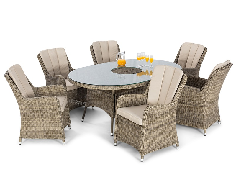 Maze Rattan Winchester 6 Seat Oval Fire Pit Dining Set with Venice Chairs Dining Set Image0 Image