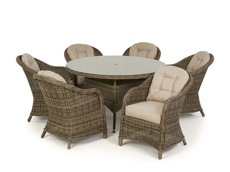 Maze Rattan Winchester 6 Seat Round Dining Set with Heritage Chairs Dining Set Image0 Image