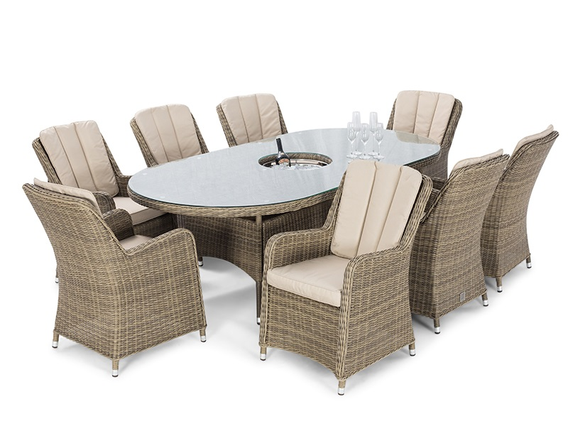 Maze Rattan Winchester 8 Seat Oval Ice Bucket Dining Set with Venice Chairs and Lazy Susan Dining Set Image0 Image