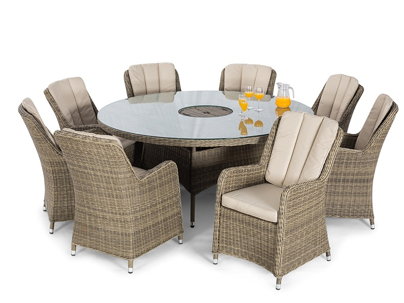 Winchester 8 Seat Round Fire Pit Dining Set with Venice Chairs and Lazy Susan Main Image