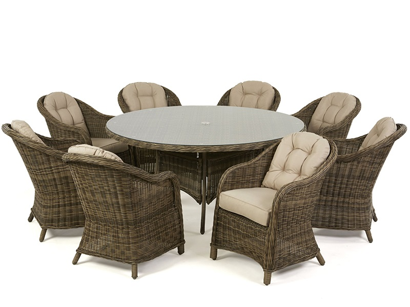 Maze Rattan Winchester 8 Seat Round Dining Set with Heritage Chairs Dining Set Image0 Image