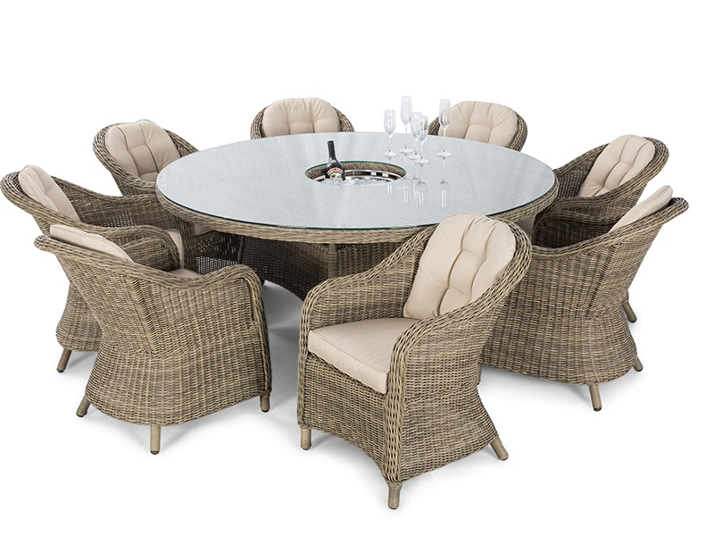 Maze Rattan Winchester 8 Seat Round Ice Bucket Dining Set with Heritage Chairs and Lazy Susan Dining Set Image0 Image
