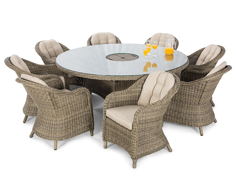 Maze Rattan Winchester 8 Seat Round Fire Pit Dining Set with Heritage Chairs and Lazy Susan Dining Set Image0 Image