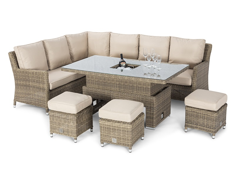 Maze Rattan Winchester Corner Dining Set with Ice Bucket and Rising Table Dining Set Image0 Image