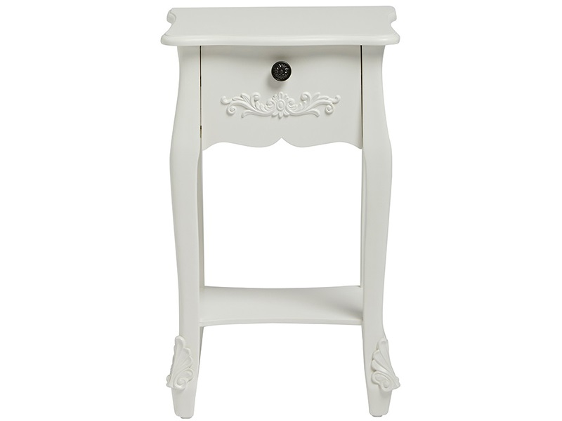 Furniture Express Antoinette 1 Drawer Nightstand White White Bedside Chest Image0 Image
