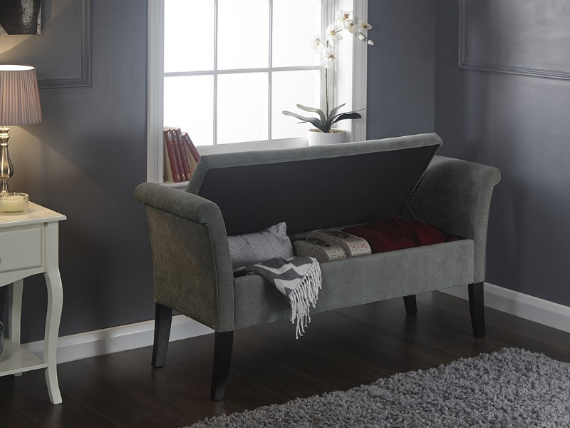 GFW Balmoral Window Seat Chenille Grey Blanket Box Image0 Image