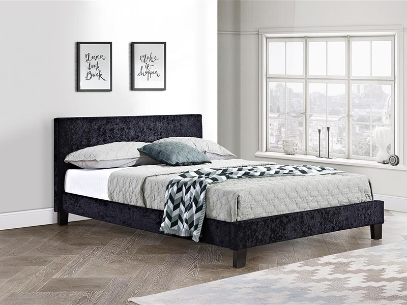 Birlea Berlin Black Crushed Velvet 4\' 6 Double Black Crushed Velvet Fabric Bed Image0 Image