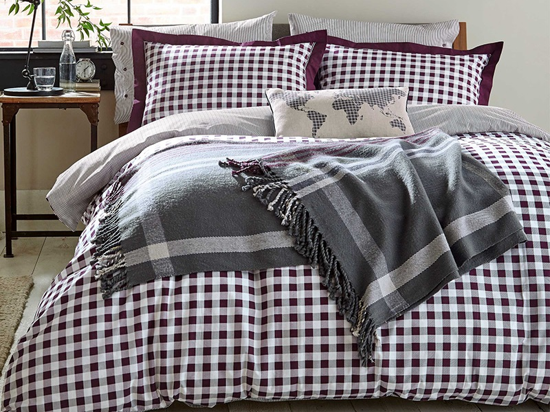 Blake Duvet Cover Set Mulberry Charcoal Main Image
