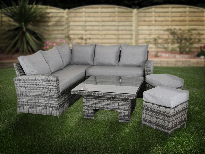 Relax Rattan Blickling Small Corner Dining Set Grey Dining Set Image0 Image