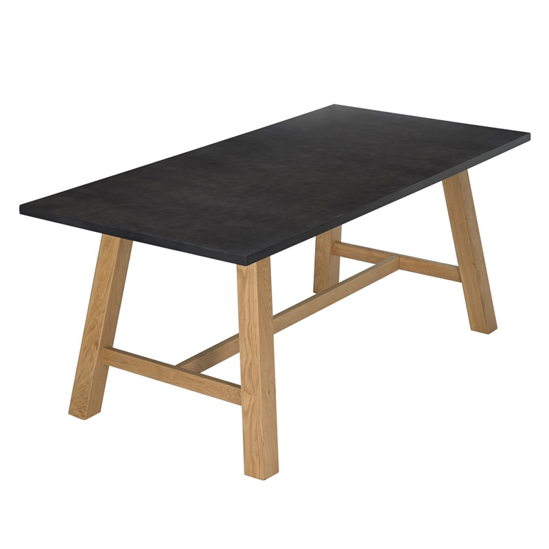 LPD Furniture Brooklyn Dining Table Grey Top 2\' 6 Small Single Oak Dining Table Image0 Image