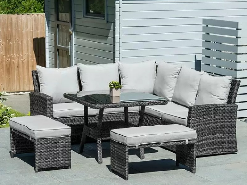 Nova Outdoor Living Cambridge Compact Corner Sofa Set with Parasol Hole Grey Rattan Corner Sofa set Image0 Image
