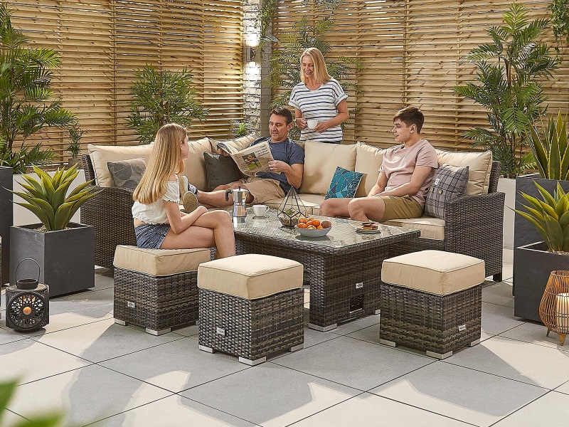 Nova Outdoor Living Cambridge Corner Dining Set with Rising Table - Left Hand Brown Rattan Corner Sofa set Image0 Image