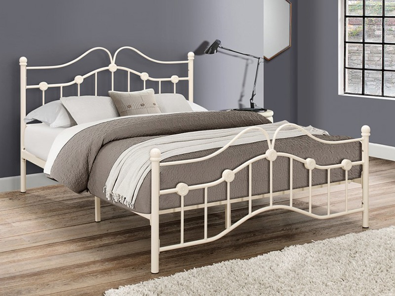 Birlea Canterbury 4\' 6 Double Cream Metal Bed Image0 Image