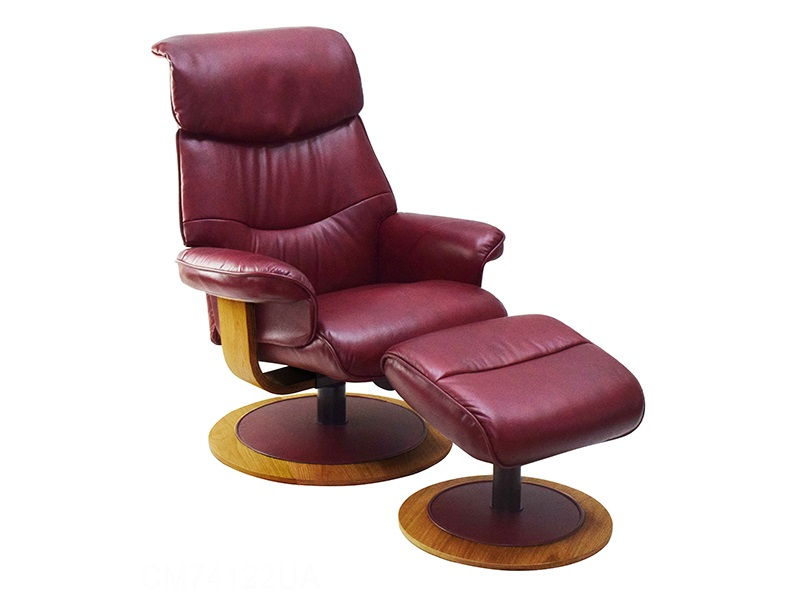 Global Furniture Alliance Chartwell Swivel Recliner and Footstool Ruby Red Reclining Chair Image0 Image