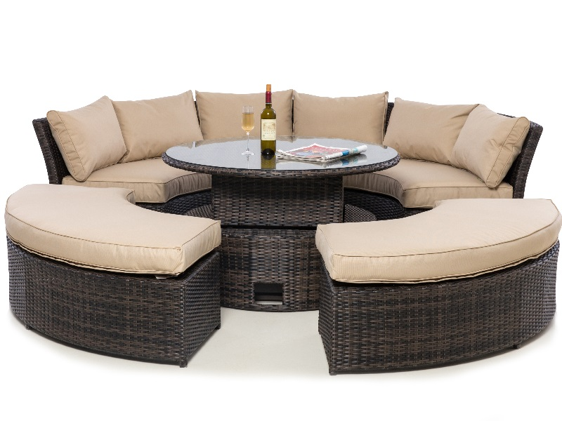 Maze Rattan Chelsea Lifestyle Suite with Glass Table Top Brown Rattan Casual Set Image0 Image