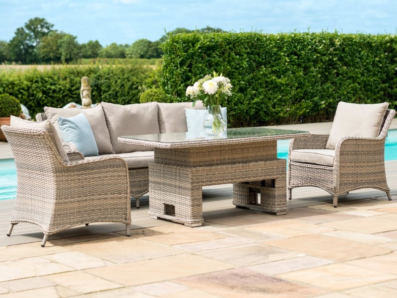 Maze Rattan Cotswolds 3 Seat Sofa Dining Set With Rising Table At Mattressman
