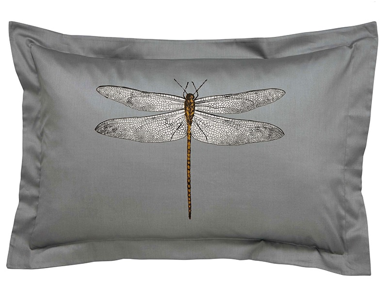Demoiselle Oxford Dragonfly Pillowcase Graphite Main Image