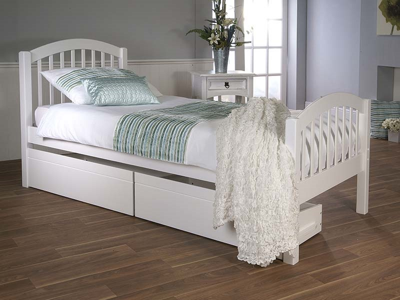 Limelight Despina 3\' Single White Trundle Bed Wooden Bed Image0 Image