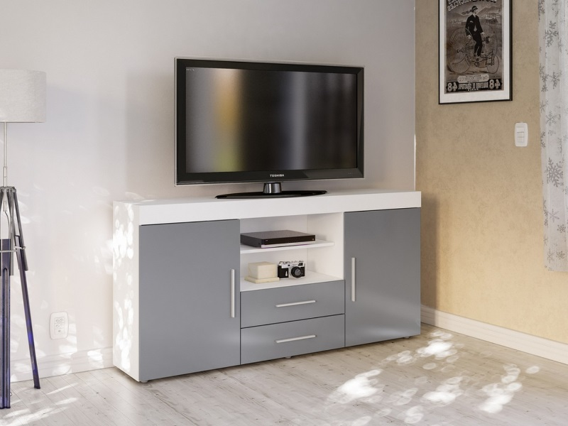 Birlea Edgeware 2 Door 2 Drawer Sideboard White and Grey Sideboard Image0 Image