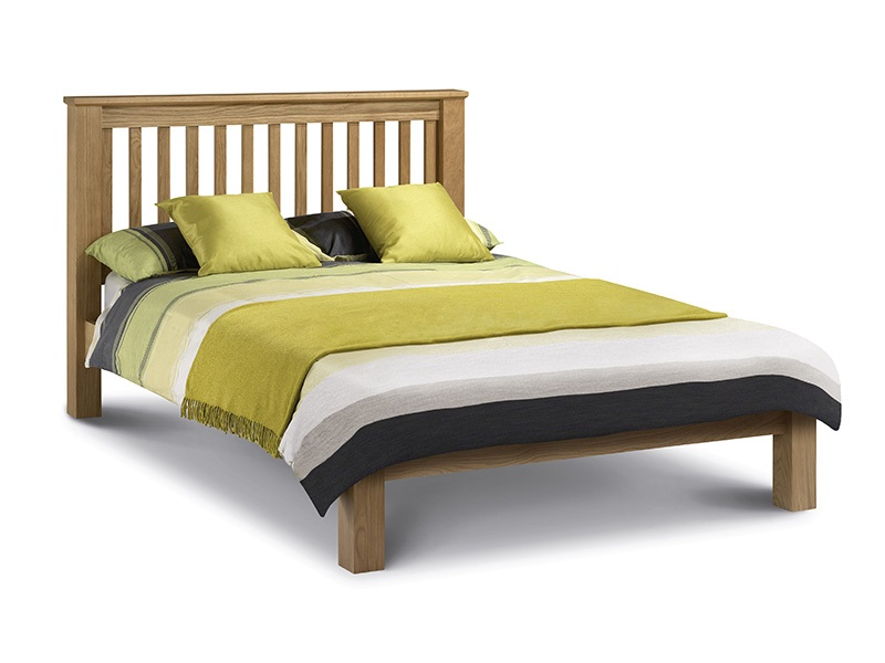 Julian Bowen Amsterdam Oak Low Foot End 4\' 6 Double Oak Slatted Bedstead Wooden Bed Image0 Image