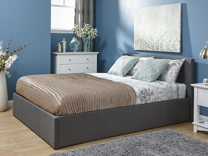GFW End Lift Ottoman in Fabric 5\' King Size Grey Ottoman Bed Image0 Image