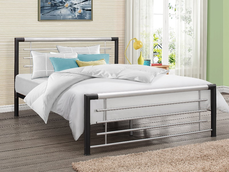 Birlea Faro 4\' 6 Double Black and Silver Slatted Bedstead Metal Bed Image0 Image