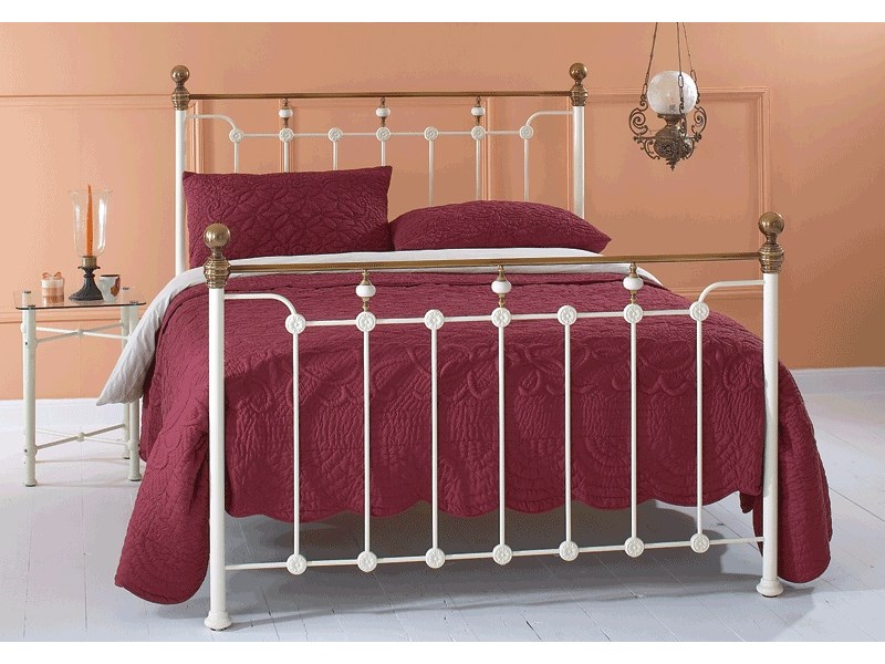 Original Bedstead Co Glenholm Headboard 4\' 6 Double Glossy Ivory with Crackle Porcelain Headboard Only Metal Headboard Image0 Image