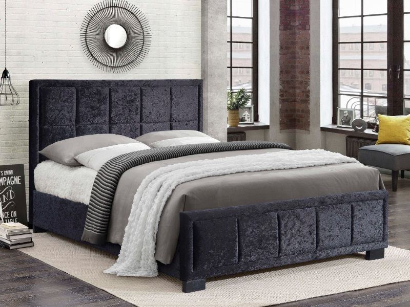 Birlea Hannover Black Crushed Velvet 4\' 6 Double Black Crushed Velvet Fabric Bed Image0 Image