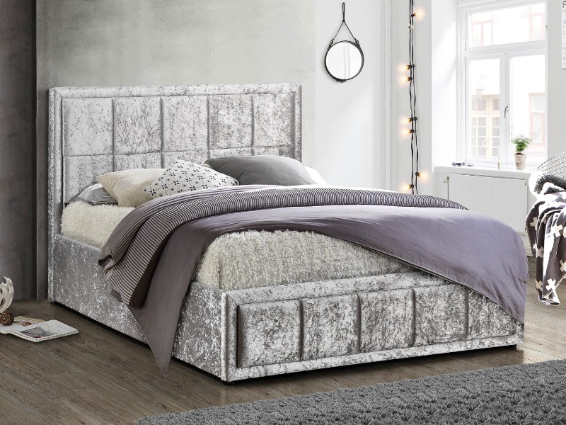 Birlea Hannover Fabric Ottoman Bed 4\' 6 Double Steel Crushed Velvet Ottoman Bed Image0 Image